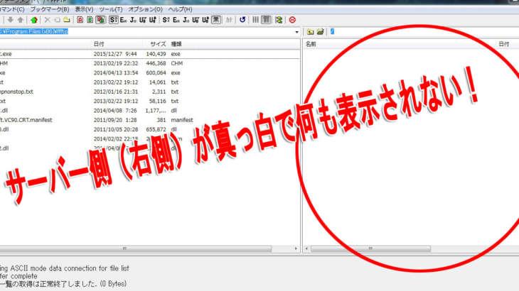 FTPツールで右側のサーバーが真っ白に表示された時の解決法